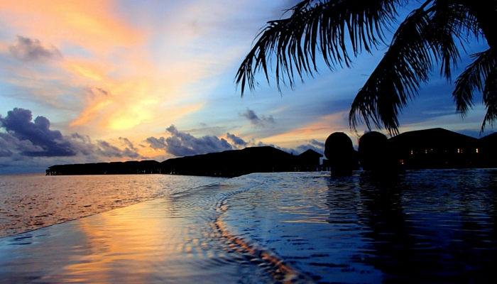 Malediven ondergaande zon
