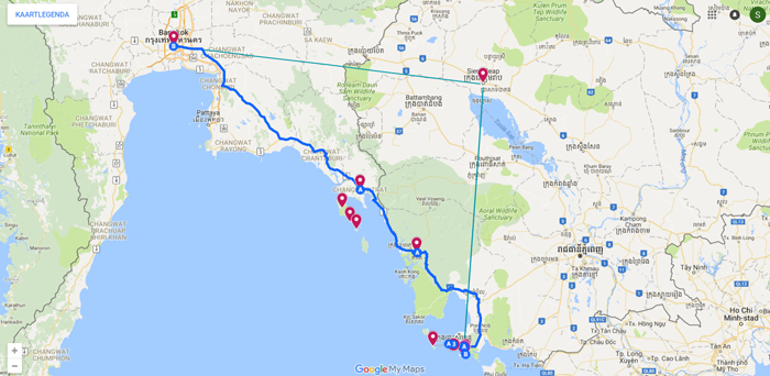 Route Thailand en Cambodja