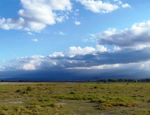 Uitgestrekte savanne in Amboseli nationaal park Kenia