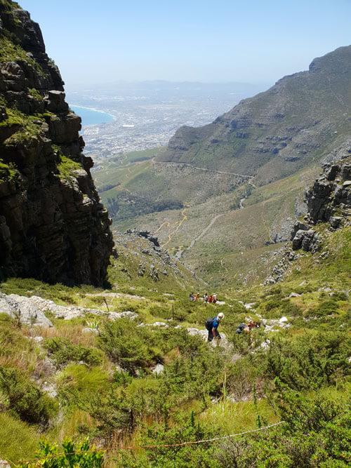 Plattekip route naar de top van de Tafelberg